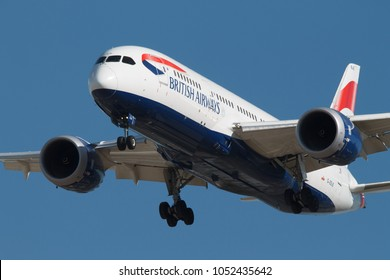 CALGARY, CANADA - JUNE 25, 2017: British Airways G-ZBJE Boeing 787 Dreamliner landing at Calgary International Airport from London, England.
