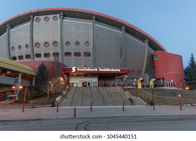 CALGARY, Canada - March 12. 2018: Scotiabank Saddledome with Calgary Flames fans before NHL match against Edmonton Oilers