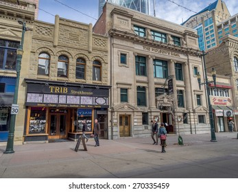 CALGARY, CANADA -MARCH 26: Pedestrians walking past retail outlets along Stephen Ave on March 26, 2015 in Calgary, Alberta. Stephen Ave is a famous pedestrian mall in downtown Calgary.