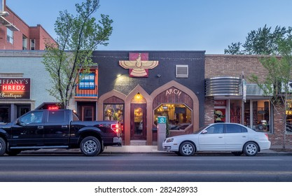 CALGARY, CANADA - May 23: Buildings in Calgary's Inglewood on May 23, 2015. It is known for trendy restaurants, nightlife, art galleries and upscale shops, all popular with locals and tourists.