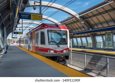 Calgary, Canada - May 26, 2019: C-Train in downtown Calgary, Alberta. The C-train is Calgary's main light rail transit vehicle and moves over 300,000 people a day