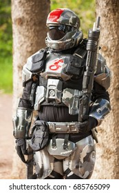 Calgary Canada - Sept 01, 2014: Illustrative cosplayer dressed up as one of the Halo character  - a military science fiction soldier.