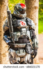 Calgary Canada - Sept 01, 2014: Illustrative cosplayer dressed up as one of the Halo characters  - a military science fiction soldier.