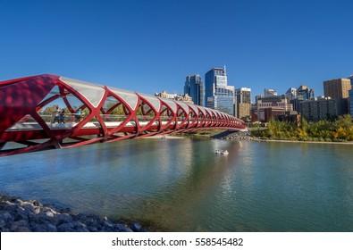 CALGARY, CANADA - SEPT 21: Panorama of the Peace Bridge on September 21, 2014 in Calgary, Alberta Canada. The pedestrian bridge spans the Bow River and was designed by Santiago Calatrava.