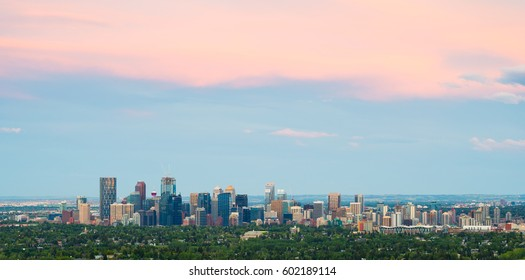 Calgary City Skyline at Dusk in Alberta, Canada