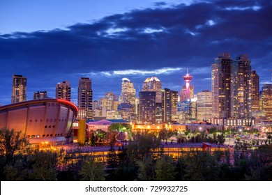 Calgary city skyline at night