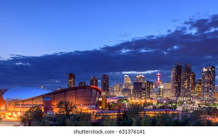 Calgary city skyline at night, Alberta, Canada