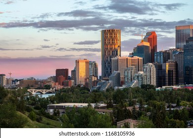 Calgary downtown and Centre Street bridge view on a summer evening at sunset