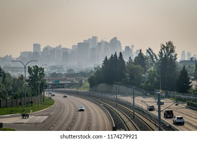 Calgary downtown covered by wildfire smoke, Canada, Alberta
