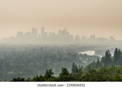 Calgary downtown covered by wildfire smoke, Alberta, Canada