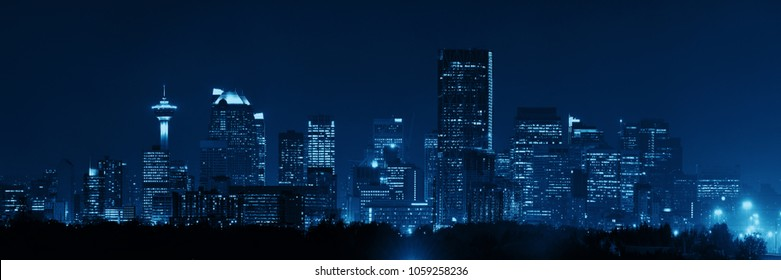 Calgary downtown panorama at night in Alberta, Canada.