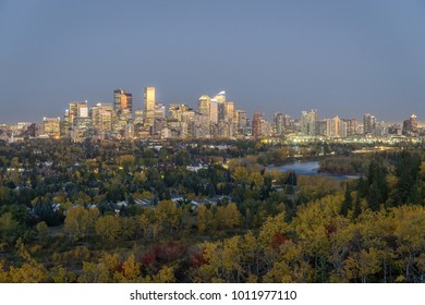 Calgary downtown skyline at dusk in fall