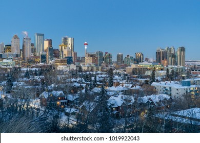 Calgary Downtown Skyline at Dusk on a Winter Evening, Alberta, Canada