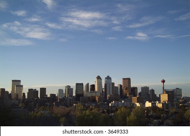 Calgary downtown skyline from south looking north at dusk