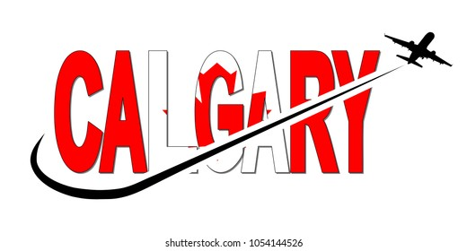 Calgary flag text with plane silhouette and swoosh illustration