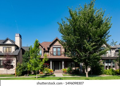 Calgary, JUL 25: Exterior view of a beautiful two stories house on JUL 25, 2019 at Calgary, Canada