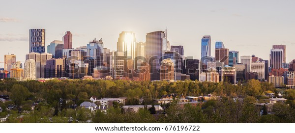 Calgary - panorama of city. Calgary, Alberta, Canada.