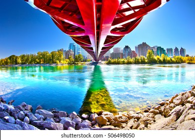 Calgary peace bridge in Autumn