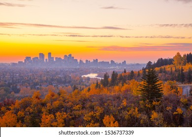 Calgary Skyline in Autumn from Edworthy Park