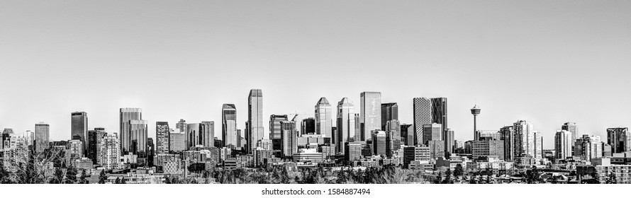 Calgary skyline in black and white