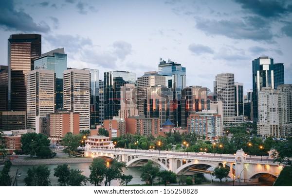 Calgary skyline with bridge.