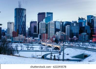 Calgary Skyline at Dusk on a Winter Evening