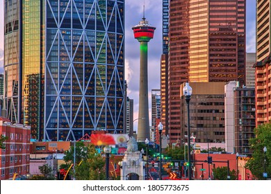 Calgary Tower standing tall in downtown