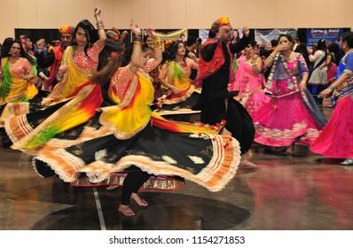 Calgary,Alberta,Canada 10/08/2017 Navratri festival garba and dandiya dance in Calgary. It is a Hindu festival dedicated to the worship of Goddess celebrated by Indian across the world for nine days.