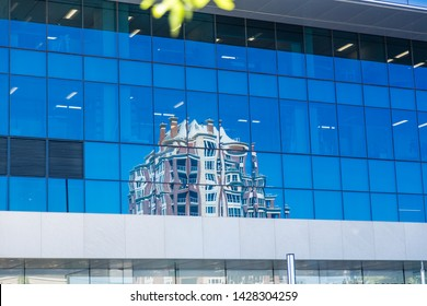 Calgary/Alberta/Canada - Jun 20 2018: Partial view of downtown buildings in downtown Calgary