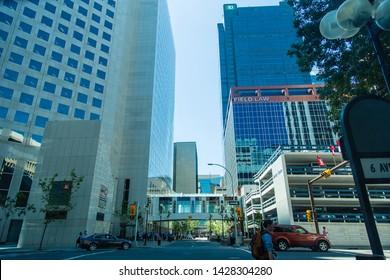 Calgary/Alberta/Canada - Jun 20 2018: Partial view of downtown Calgary