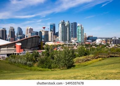 CALGARY,ALBERTA,CANADA-August 27,2019: A beautiful view of Calgary skyline taken from Scotsman's Hill.