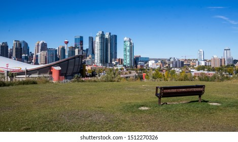 CALGARY,ALBERTA,CANADA-September 22, 2019: A beautiful view of Calgary skyline on a warm sunny fall day taken from Scotsman's Hill.