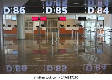 Calgary,Canada-September 2, 2019: Gates of departures international of Calgary International Airport