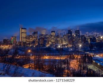 Calgary's skyline on a freezing winter day.