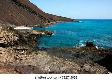 Calhau extinct crater, viewpoint at the basalt shore line, Sao Vicente Island in Cape Verde