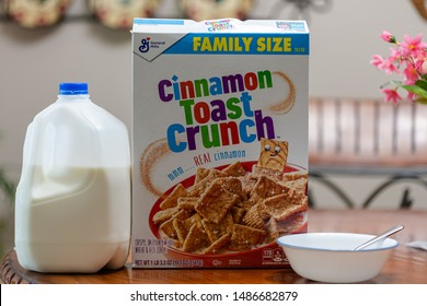 Calhoun GA USA 8-24-2019 Cinnamon Toast Crunch with Milk  and bowl