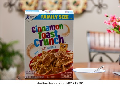 Calhoun,GA/USA-August 30 2019; Cinnamon Toast Crunch Cereal Box with Bowl and Spoon