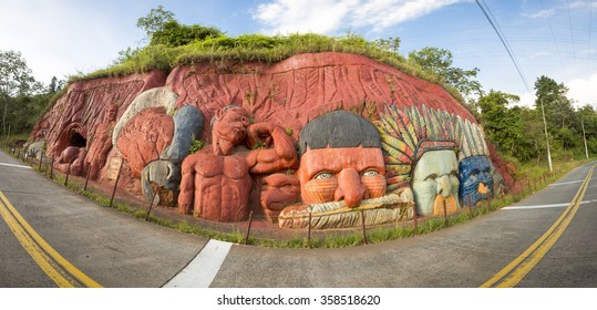 CALI, COLOMBIA, MARCH 6: Panorama of sculptures bas relief depicting the Inca and Indian indigenous lifestyle in the mountain of Cali, Colombia 2015