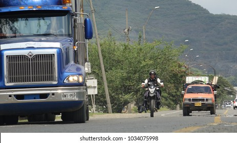 Cali / Colombia - November 2 2017: Truck And Road Traffic