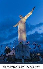 CALI, COLOMBIA - OCTOBER 27, 2017: The Statue of Christ the King in Santiago de Cali. It is one of the biggest cities and the most famous center of salsa. Cali, Colombia, October 27, 2017