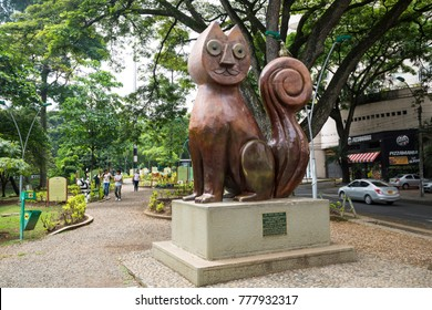 CALI, COLOMBIA - OCTOBER 29, 2017: Cat Park in Santiago de Cali. It is one of the biggest cities and the most famous center of salsa. Cali, Valle de Cauca, Colombia, October 29, 2017