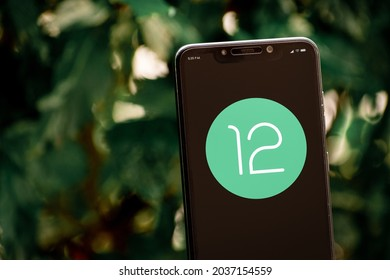 Cali, Colombia - September 5, 2021: Smartphone with Android 12 logo on screen. Android is the mobile operating system developed by the Open Handset Alliance led by Google.