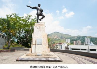 Cali, Santiago de Cali, Valle del Cauca, Colombia. February 27, 2011: Statue of Sebastian de Belalcazar