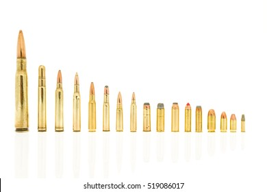 Calibers of bullets including 223, 5.56  39, 7.62, 30-30 win, 308 win, 270 win, 300 win mag, 416 rem mag, 50 BMG 45 long colt, 44 rem mag, 357 mag, 38 special, 45 acp, 9 mm, 380 auto, 22