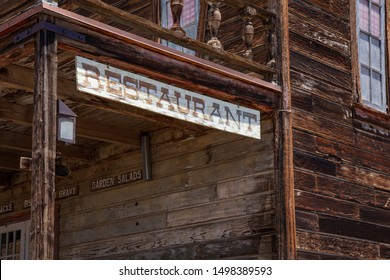 Calico ghost town California, USA. May 29, 2019. Calico restaurant sign on wood building facade
