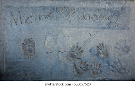CALIFORNIA - 2014, JUNE, 24:  In memory of Michael Jackson, Chinese Theatre in Holywood California, USA