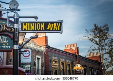 CALIFORNIA - 2014, JUNE, 24:  Walking fown Minion Way at Universal Studios, California, USA