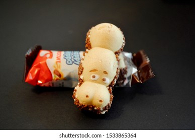 CALIFORNIA - 2019: Kinder Happy Hippo  is a biscuit/candy made by the Italian chocolate company Kinder by Ferrero. A wafer biscuit shaped as a hippopotamus is chocolate filled. Soft focus on wrapper.