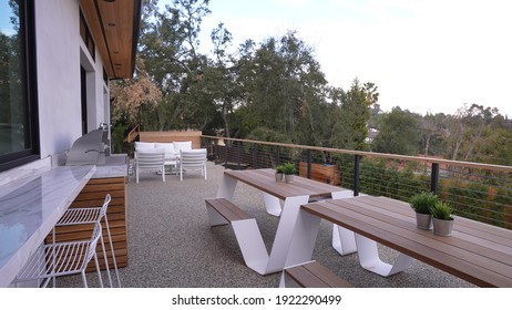 California, 22 February 2021: Luxurious Decorative Balcony Terrace With Natural View Outside Of Modern Mansion. Concept Of Marbled Patio, Architecture And Relaxation.