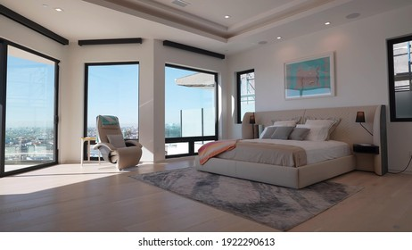 California, 22 February 2021: Luxurious Bright Bedroom With Comfortable King Size Bed and Modern Furniture. Template For Expensive Residential Mansion. Concept For Interior, Architecture and Lifestyle